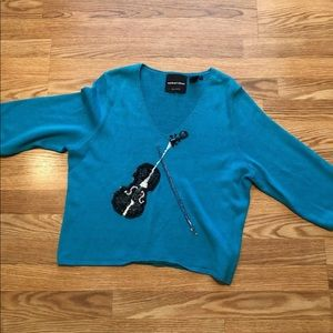 Violin Music Sweater Sequins large Michael Simon